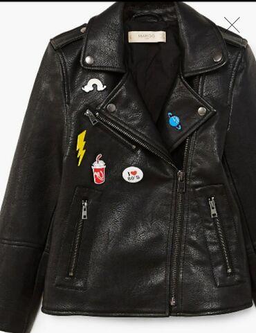 Plac - Srbija: MANGO biker jacket, kozna jakna decija crna, moderna, za devojcice