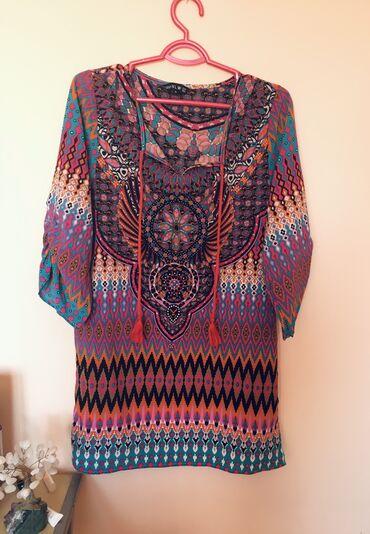 Boho tunika, intezivne boje, pamuk i elastin, prijatna i lepršava