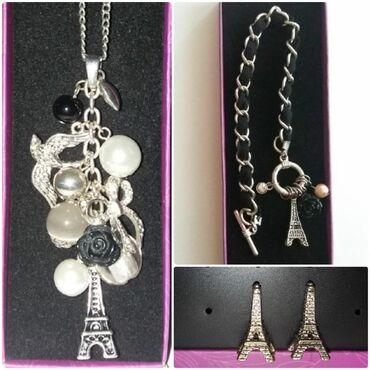 Lep kvalitetan komplet - ogrlica, narukvica i minđuše Pariz, Ajfelov