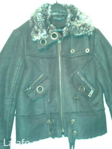 Zenska jakna od prevrnute koze,braon boje,vel xl,bolje izgleda u - Novi Sad