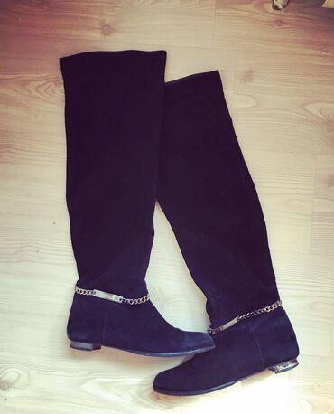 Crne ravne cizme od velura iznad kolena,  Broj 40
