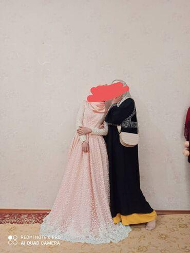 Нежное свадебное платье морковного цвета, сшитое на заказ в ручную