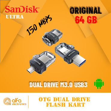 """Orijinal Sandisk """"Dual Drive m3.0"""" Usb3 Sürəti ilə. Təəssüflər olsun"""