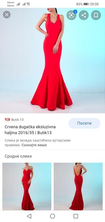 Haljina crvena duga sa puno elastina nosena samo jednom