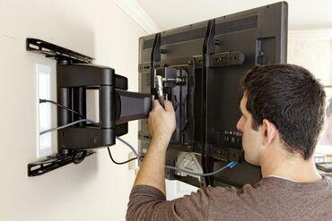 Бытовые услуги - Кыргызстан: Установка ТВ на стену.Профессионально монтирую плоские телевизоры на