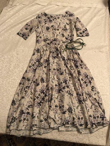 длинное платье с цветочным принтом в Кыргызстан: Платье в цветочный принт с ремнём
