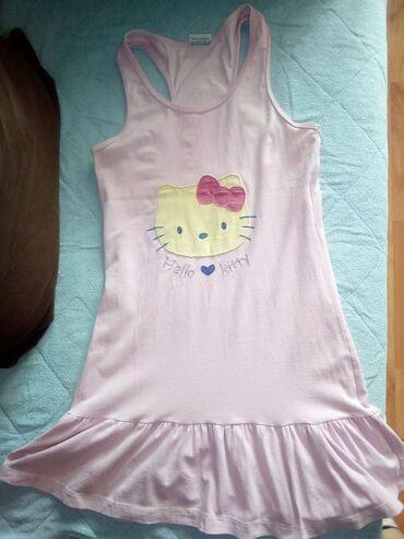 Pamucna decija haljina,Hello Kitty print,domaca