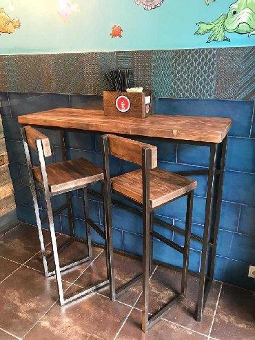 стол с двумя стульями в Кыргызстан: Барный стол консоль барный стул в стиле Лофт