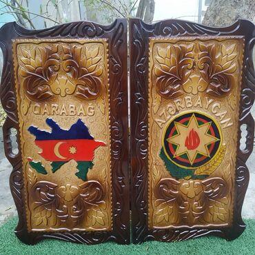 Нарды - Азербайджан: Uzerine xususi zovqle oyma usulla Azerbaycan xeritesi ve Gerb Qarabag