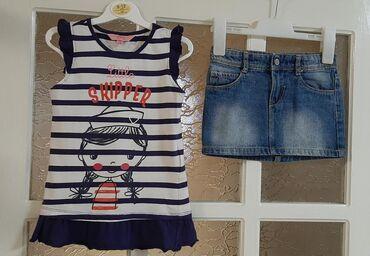 Dečiji Topići I Majice | Kragujevac: OVS majica, vel 110cm (4-5 god) i Teranova teksas suknjica, vel