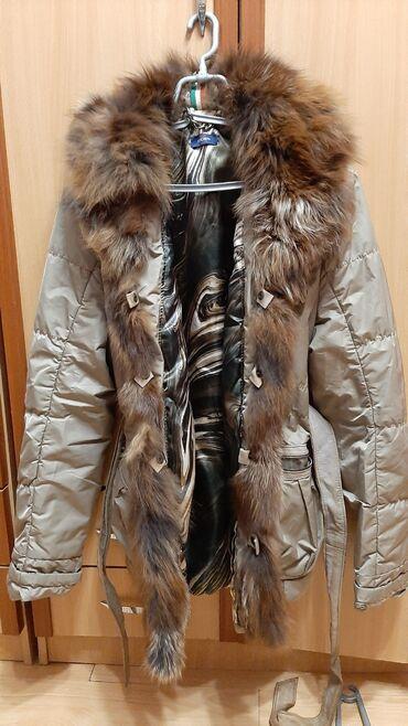 Kozna jakna sa krznom - Srbija: Jakna sa priridnim krznom lisice XL velicine italijanska ocuvana
