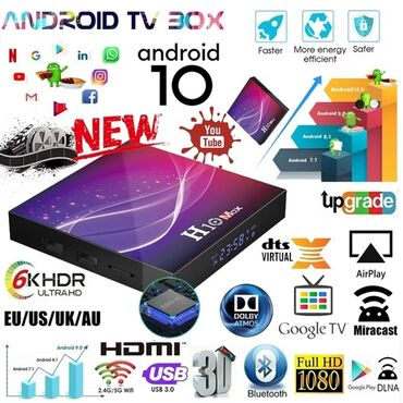 smart tv box - Azərbaycan: Tv box android smart tv box tuneroriginal H10 max 4k 4/32gb android