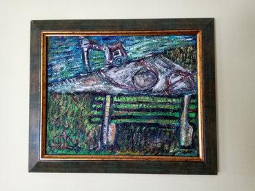 Canik-dosta-prostora-nema - Srbija: 'Klupa'. Ulje na platnu. Slika je 40x50cm, sa ramom 51x61cm. Moj rad