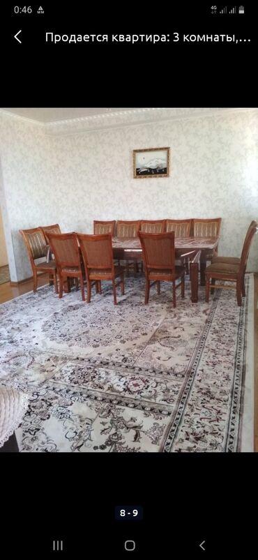 стол и стулья для гостиной в Кыргызстан: Продаю комплект стол со стульями, состояние идеальное, длина 3 м, укор
