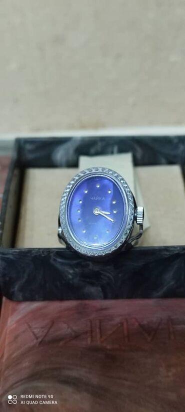Раритет! новые серебряные механические часы перстень ЧАЙКА 17 камней а