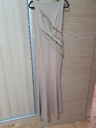 Mantil svecani - Srbija: Svecana GYGESS original maxi sirena haljina,pesak boje sa zlatnim sljo