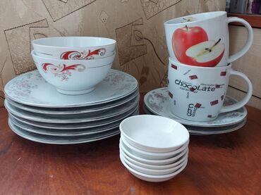 Все новое: тарелки цветные десертные из сервиза 6 шт. Бокалы 2 шт