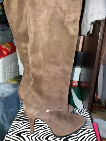 Čizme braon prevrnuta prava koža 38