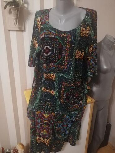 Zenska haljina lan pamuk ne guzva se za punije dame xxxl