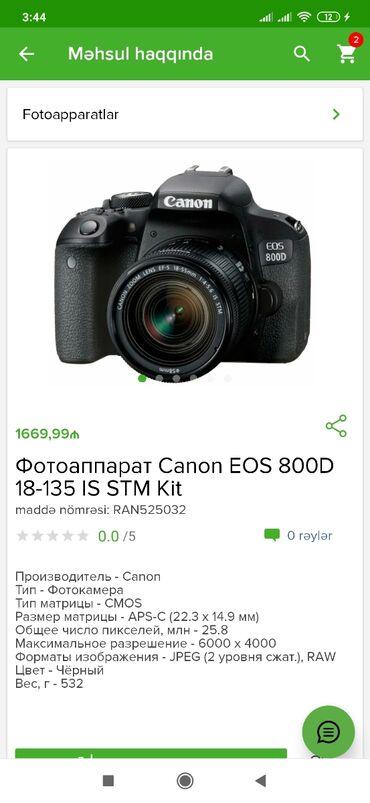 Canon eos 800d 18 135 is stm kit qiymeti 1669.99 azn 1 kartla 18 aya