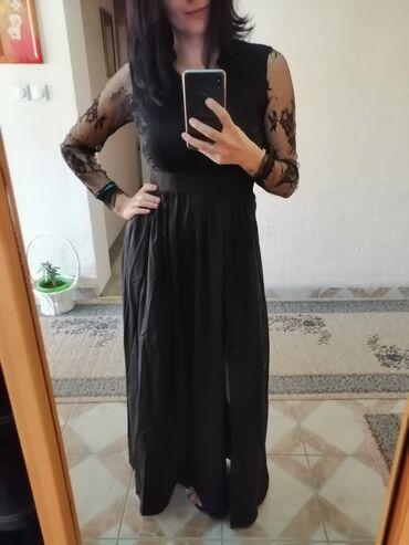 Haljina cipkasta - Srbija: Crna duga elegantna haljina. Nova, Porucila sam je i nisam obukla