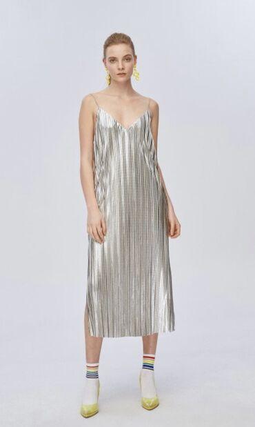 Nova haljina - Srbija: Haljina MISS SIXTY, srebrna na bretele, nova, sa etiketom, velicina L