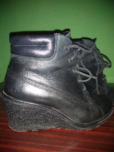 Kožne, crne, kratke Timberland čizmice, jednom nošene, kupljene u - Nis