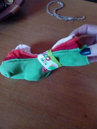 Ostala dečija odeća | Pancevo: Carape za bebe(7-12m) 4para. Zelene,crvene,narandzaste i roze