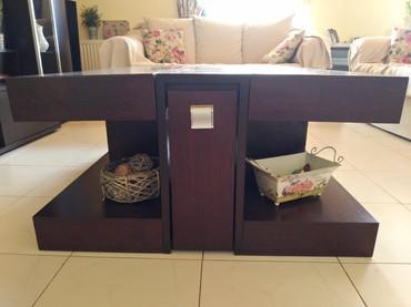 Σύνθετο και τραπέζι σαλονιού. Τραπεζάκι χρώμα βεγκε, μήκος 1,10*87