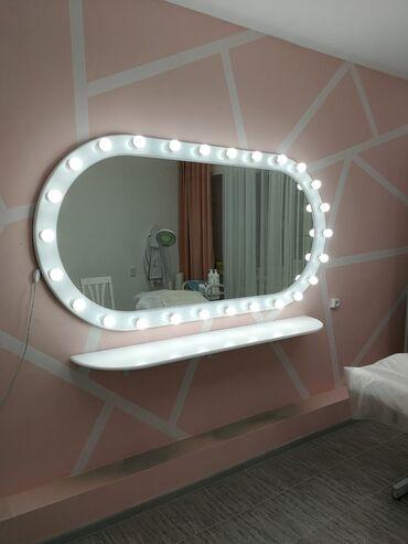 зеркала бишкек in Кыргызстан | АВТОЗАПЧАСТИ: Зеркало с подсветкой овальное из МДФ Очень красивоеРазмер 2 метра на 1