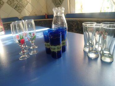фужеры стекло в Кыргызстан: Набор тарелок с ромашками 6шт порционных и 1 большая, набор стаканы