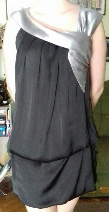 Crna,mini haljina,univerzalne veličine sa sivim detaljem u obliku - Novi Sad