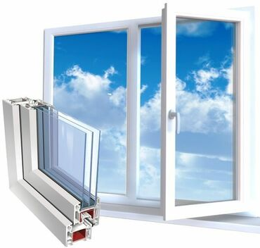 Окна, двери - Бишкек: Пластиковые, алюминиевые окна,двери,витражи.Любой сложности и на любой