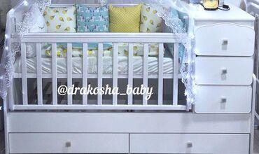 Детская мебель - Цвет: Белый - Бишкек: Продается кроватка трансформер от Российского производства Ангел с