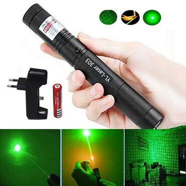 Лазерная указка в наличии-Светит 4-5км-Цвет: зеленый-Комплект (Лазер