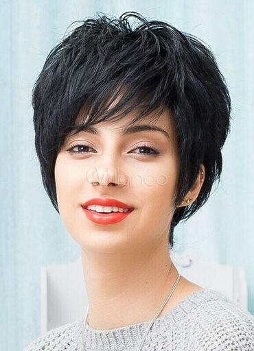 Perike - Srbija: PERIKA 100% prirodna kosa.Kratka crna.ODLIČNA Kratka crna perika, sa
