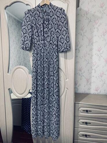 Женская одежда в Кант: Платье шифон в пол, юбка плиссе, рукав 3/4, с подкладом, пуговицы рабо