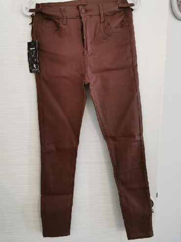 Pantalone m tamno braon imaju dva zakopcavanja napred - Srbija: Nove pantalone Eko koza Imaju elastina