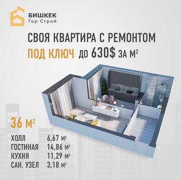 квартиры в рассрочку в токмаке in Кыргызстан | XIAOMI: Индивидуалка, 1 комната, 36 кв. м Видеонаблюдение, Дизайнерский ремонт, С мебелью