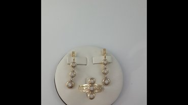 Комплект из жёлтого золота 585 проба. Размер кольца 18.5 в Бишкек