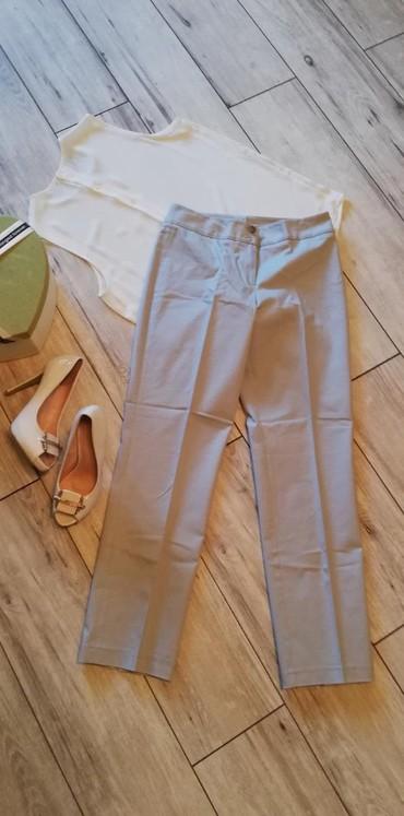 Pantalone struk duzina - Srbija: Pamuk/elastin sive pantalone kao Novo. Struk visok 37cm, dubina 36/25