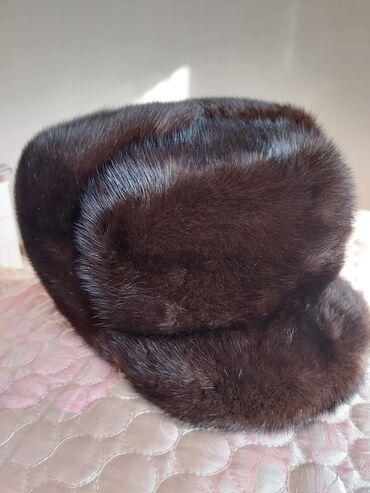 Норковая шапка мужская, черный, размер 56-58