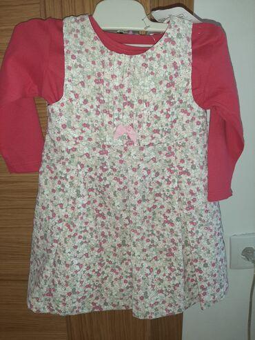 Decije haljine - Krusevac: Haljina somot i pamucna bluza komplet 900din
