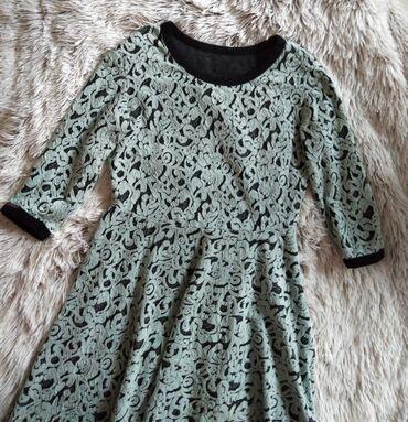 Haljina materijal elastin - Srbija: Prelepa tirkizno crna zimska haljina do kolena, mesavina viskoze, sa