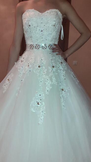Свадебные платья и аксессуары - Кыргызстан: Продаю свое свадебное платье !Шикарное платье, свет айвори, украшена