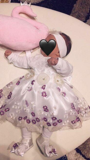 Za haljina - Srbija: Haljinica za bebe, obučena samo za sliku. Haljinica cipelice i trakica