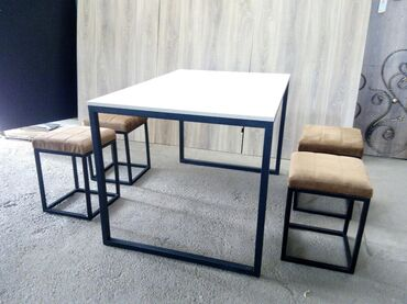 Стол и стулья в стиле Хайтек. Стол размером 1.20*0.80 и столешница