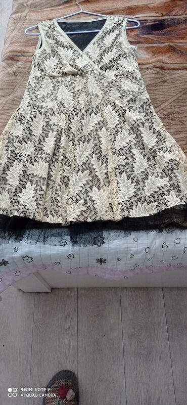 Гипюровое бежевое платье, размер 44-46