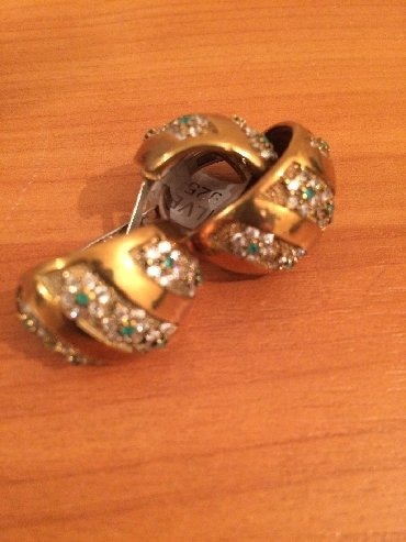 Серьги + кольцо нов Турция серебро 925' с напылением вставка нат цирко
