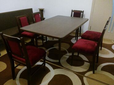 Стол и шесть стульев, импортные, бук, после реставрации, в хорошем